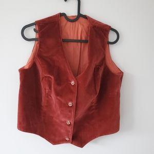 Vintage rusty orange suede vest